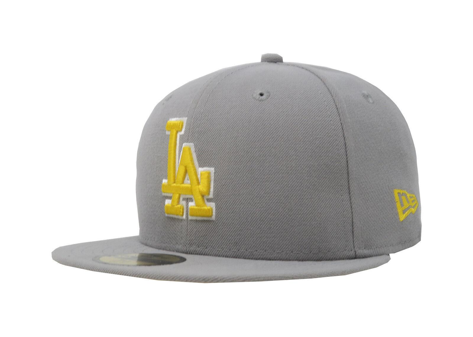 New Womens Era 59Fifty Hat MLB Los Angeles Dodgers Mens Womens New Gray Yellow 5950 Cap 1af8d5