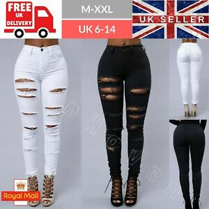Womens-Ripped-Jeans-Black-White-High-Waisted-Jeggings-Trousers-Knee-Skinny-6-16