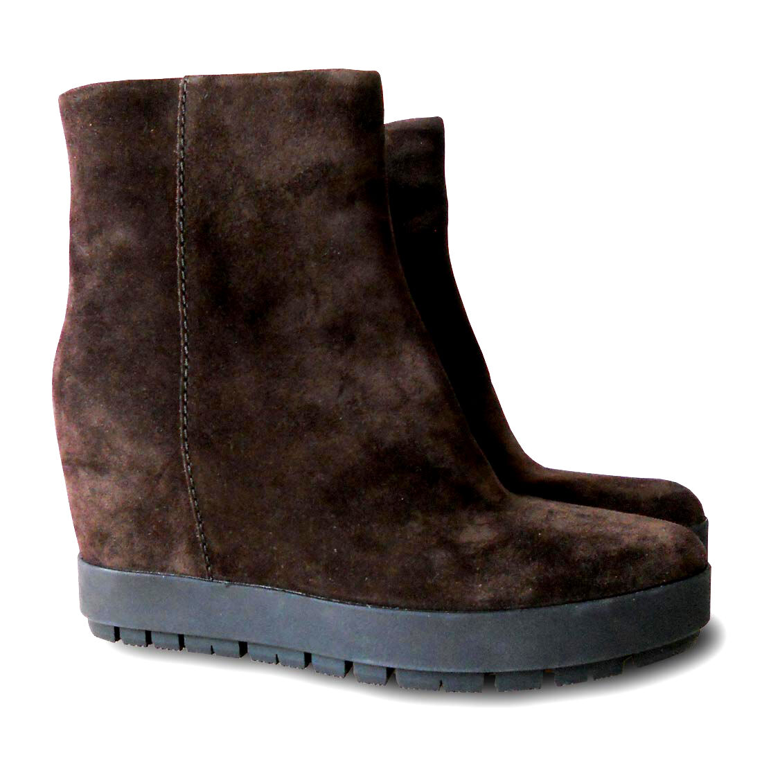 NEW    676 PRADA Suede Wedge Ankle Boot Rubber Sole - Brown - Size 38 af7c48
