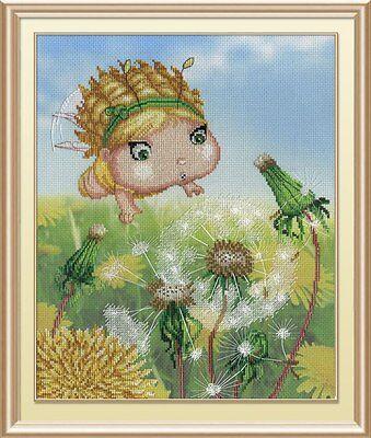 "Counted Cross Stitch Kit MP Studio PK-484 /""Fairy in Dandelions/"""