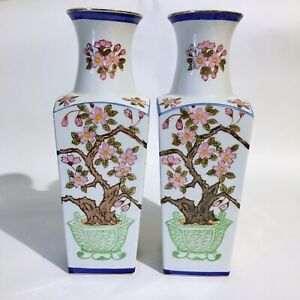 Pair Asian Handpainted Vintage Japanese Vases Blue Pink Prunus Blossoms Floral