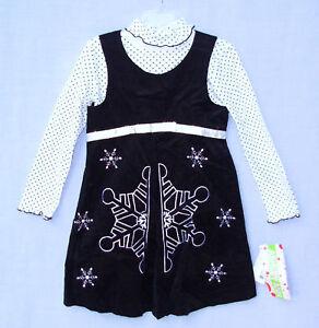 ASHLEY-ANN-size-4-Girls-2-pc-Jumper-Dress-Black-corduroy-snowflake-4-holiday-new