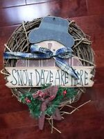 Christmas Wreath Holiday Snowman Grapevine Wreath Country 18