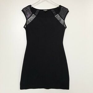 Express-Womens-Dress-Black-Bodycon-Cap-Sleeve-Studded-Faux-Leather-Stretch-Small