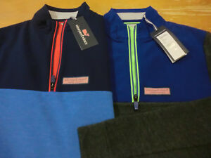 Vineyard Vines Perf. Mesh Shep Shirt, NWT - Boys L (16) + XL (18) -Blue Charcoal