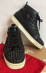 25a8dfc6dd8 Image is loading Christian-Louboutin-Louis-Spikes-Flat-High-Top-Sneakers-