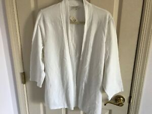 Woman-s-Talbots-plus-size-1X-white-3-4-sleeve-open-front-cotton-blend-top