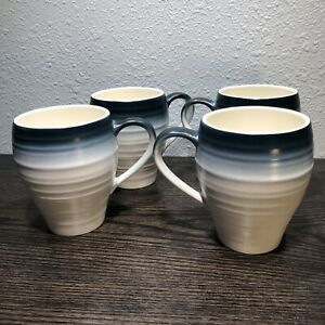 MIKASA SWIRL OMBRE BLUE 16 Oz Large Coffee Mugs Set of 4