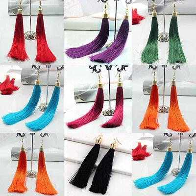 Women Fashion Retro Style Bohemian Silk Yarn Long Tassel Fringe Dangle Earrings