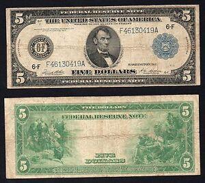United States - 5 Dollars Reserva Federal Atlanta 1914 (Large Size) BB / VF S-01