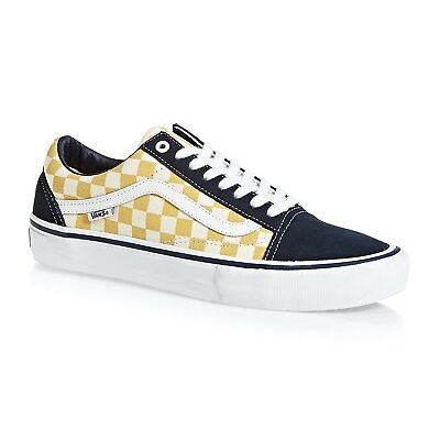 VANS OTW OLD SKOOL PRO (CHECKERBOARD) SKATE SHOES NAVY GOLD MENS SZ 11.5 NEW