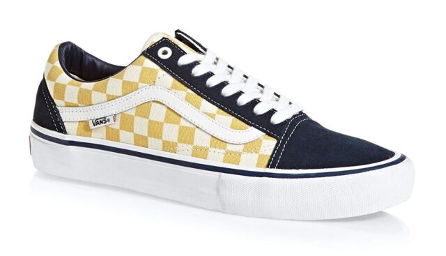 49e449b13c6 VANS Mens Old Skool Pro Checkerboard Dress Blue Yellow Skate Shoes Size 11