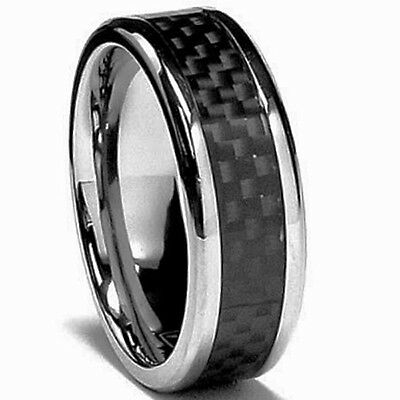 TITANIUM Fashion RING with CARBON FIBER BAND, size 12 - NEW- in a Gift Box!