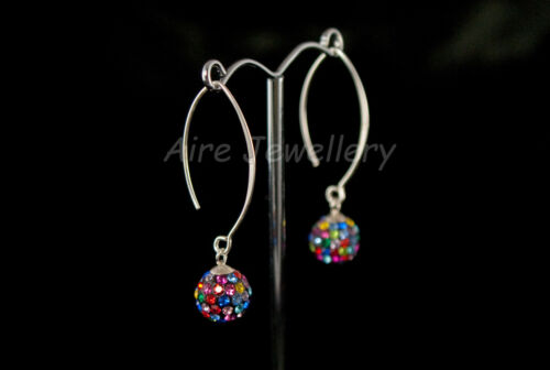 Argent sterling 925-Boule De Cristal Cloutée drop earring SE235 FREE P/&P