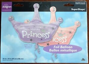 Image is loading Happy-Birthday-Princess-Crown-Foil-Balloon-117102-25x34- a6cc5e63010a