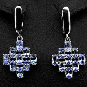 Sterling-Silver-925-Genuine-Natural-Oval-Blue-Violet-Tanzanite-Cluster-Earrings