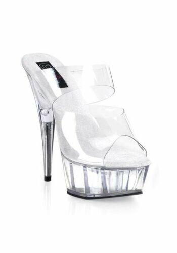 Pleaser DELIGHT-602 Women/'s 6 Inch Stiletto Heel Two-Band Platform Slide