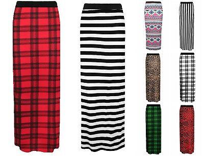 New Ladies Women Gypsy Long Jersey Bodycon Maxi Dress Skirt Plain Printed Skirt