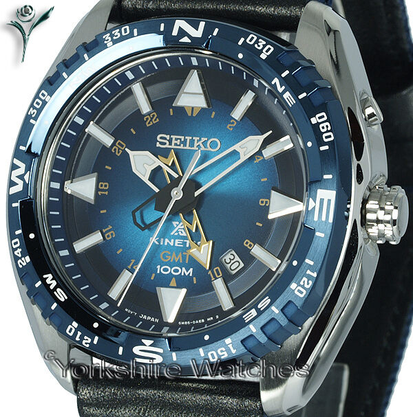 New SEIKO KINETIC GMT LAND BLUE FACE Dual Time FABRIC BUCKLE STRAP SUN059P1