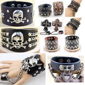 Image Is Loading Men Goth Rock Punk Genius Leather Cuff Bracelet