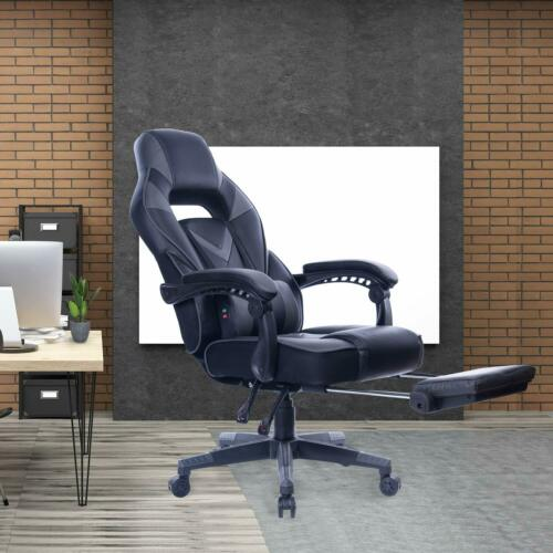 Massage Racing Gaming Stuhl Bürostuhl Chefsessel schwarz-grau BLACK+Grey 9015