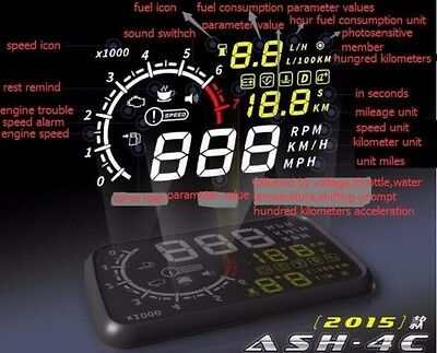 5.5'' Car Head Up Display OBD Speed Warning Fuel Consumption colorful for Kia