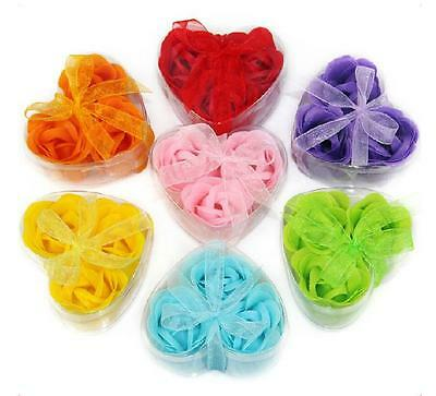 15PCS Bath Body Roses Flower Petal Soap Heart Box Gift Wedding Favor Decoration