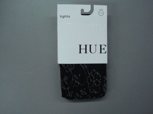 NWT Hue Women/'s Linear Floral Control Top Tights Size S//M Black #989K