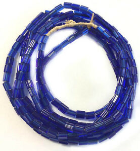 Fine-Vintage-Czech-Crystal-Russian-blue-Faceted-Glass-African-Trade-beads