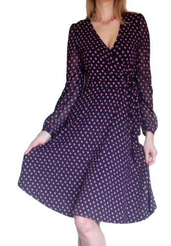 Long Wrap Blue 12 Sleeve 18 8 Midi 16 10 Spot Dress Size Ladies 14 20 wtqUU