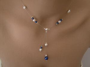 collier perle bleu electrique