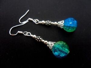 A PAIR OF DANGLY BLUE JADE BEAD EARRINGS WITH 925 SOLID SILVER HOOKS NEW..