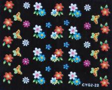 Nail art stickers ongles autocollants: fleurs papillons multicolores