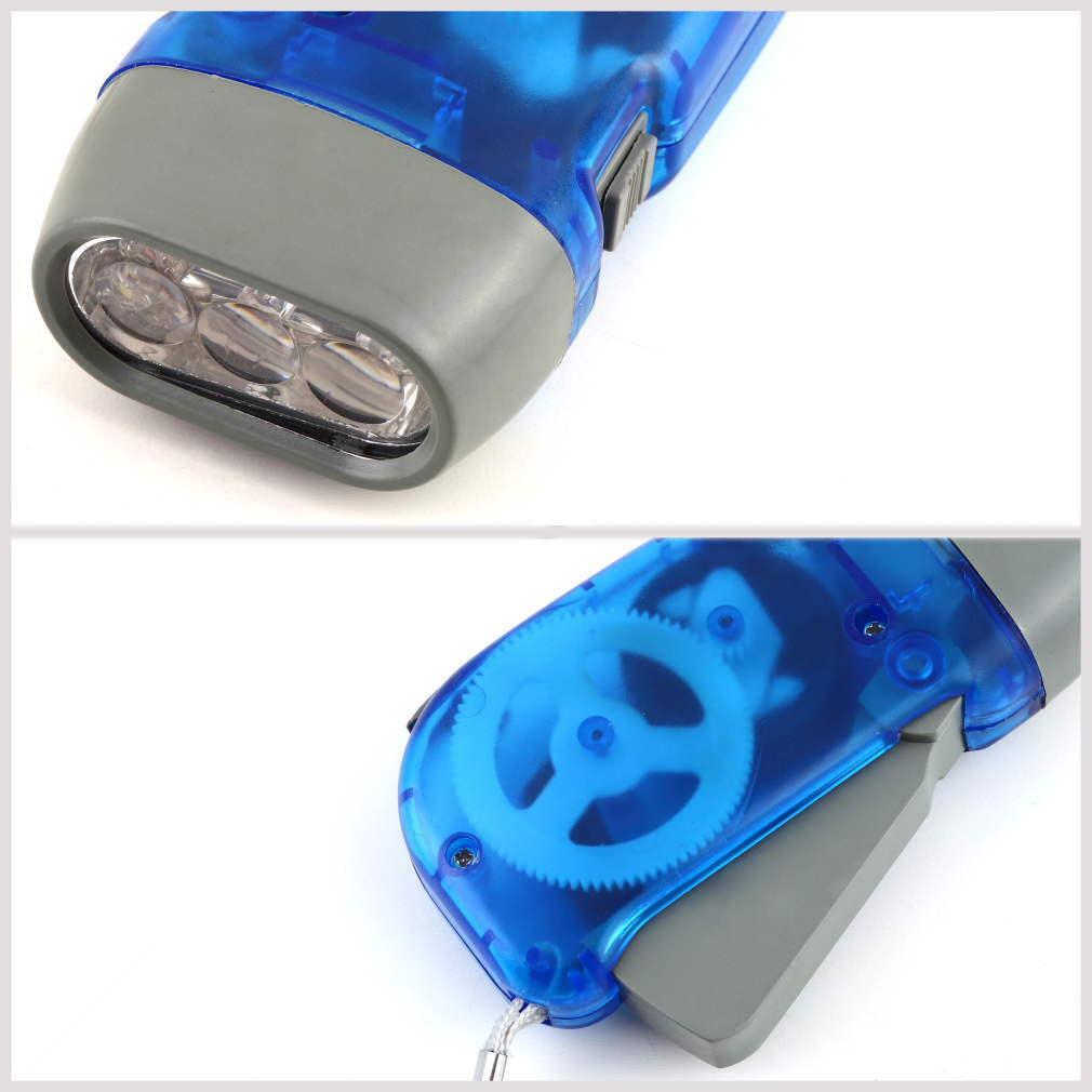 3 LED Dynamo Wind Up Flashlight Torch Light Hand Press Crank NR Camping WI