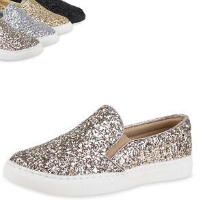 8dd91f34e8ec67 Details zu Damen Glitzer Slip-ons Sneakers Skaterschuhe Metallic Flats  78825 Top