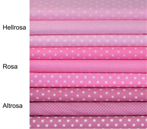 9,60€//m Baumwollstoffe Altrosa Stoffe Baumwolle Punkte Sterne Rosa Kinderstoffe