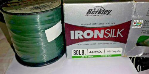 """Berkley IRONSILK 30lb LOW VIS GREEN BULK SPOOL 440yds IRONSILK  021/"""" Dia CARP"""
