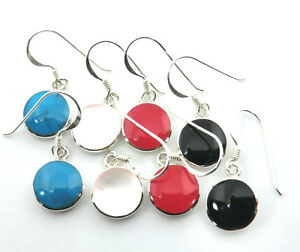 Koralle Ohrringe Rot * Türkis * Schwarz * Weiß  Ohrhänger 925 Sterling Silber