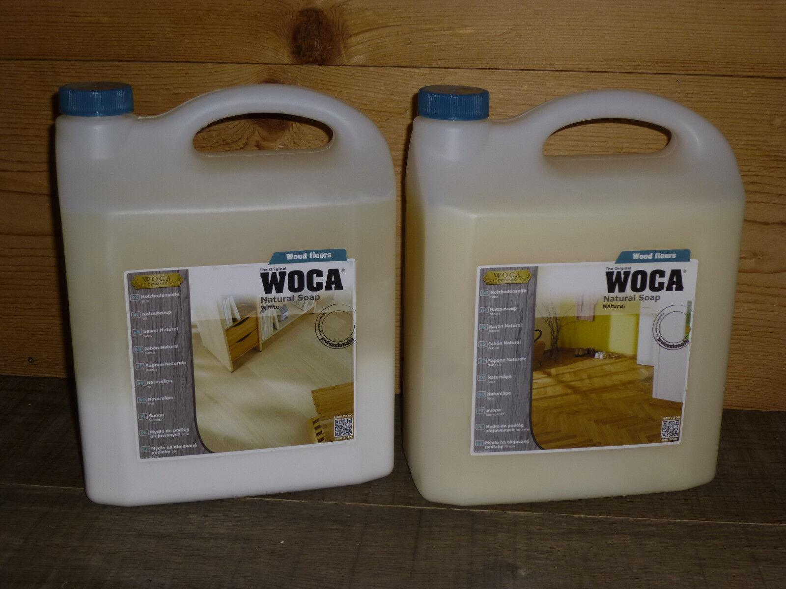 (  l) 5,0 Liter WOCA HOLZBODENSEIFE natur oder weiß (Wischpflege) - NEU