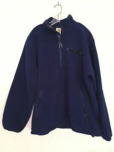 Vintage-LL-Bean-Blue-Fleece-1-4-Zip-Jacket-Made-in-USA-Mens-Large-Pullover
