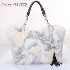 FREE SHIPPING Furry Fur Cross Body Hobo Tote Shoulder Bag Handbag C249 GRAY