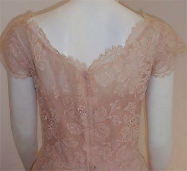 CEIL CHAPMAN 1950s Light Pink Lace Cocktail Dress - image 5