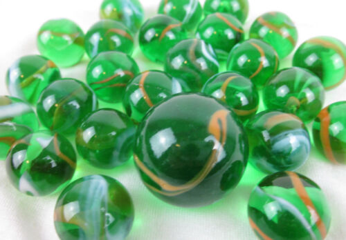 25 Glass Marbles JUNGLE Green//Orange transparent game vtg style Shooter Swirl