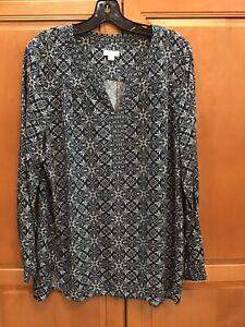 J-Jill-Tunic-Top-Shirt-Medium-Navy-Blue-Print-Rayon-Long-Sleeve-V-Neck-EUC