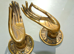 2-cast-Pull-handle-hands-solid-brass-door-aged-old-style-knob-hook-5-034-buddha