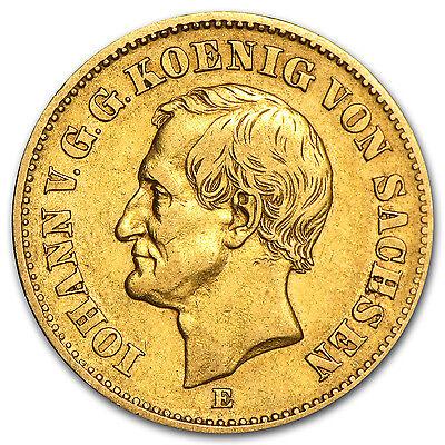 1872-1873 Germany Gold 20 Mark Saxony Johann Avg Circ