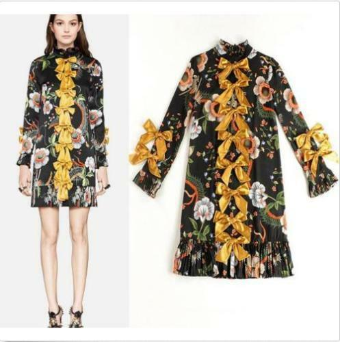 Occident Women Fashion Silk Floral Bowknot Shirt Dress Slim Long Sleeve Ballgown