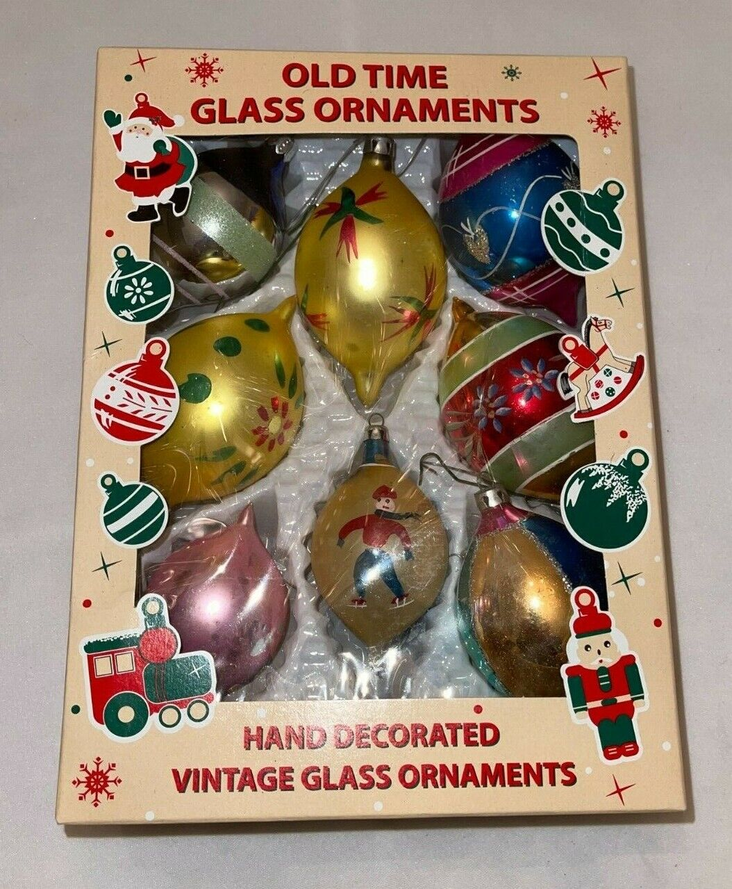 Vintage Christmas Ornament Glass Yellow and Gold Teardrop Made In Poland Christmas Ornament Box 14...
