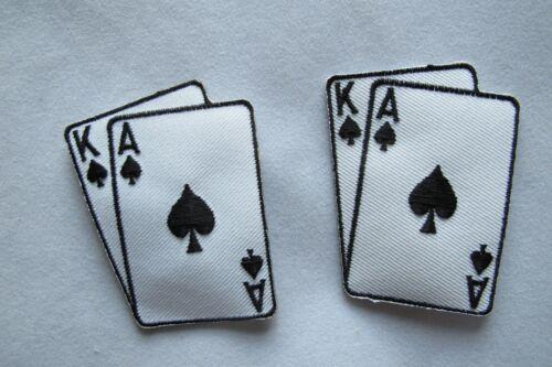 #2265 Lot 2 Pcs Black Jack Casino Poker Card Hand Embroidery Applique Patch