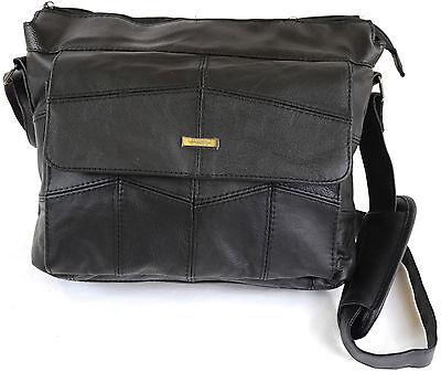 Ladies / Mens Leather Satchel Shoulder Bag, Padded Shoulder Support (3 Colours)